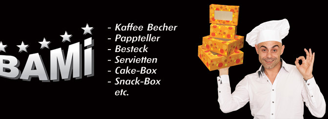 BAMI- Kaffee becher, pappteller, Servietten, Cake Box, Snack Box